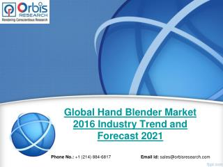 2016 Hand Blender Market Outlook and Development Status Review