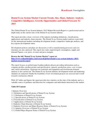 Dental X-ray System Market Trends Analysis And Forecasts To 2015