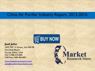China Air Purifier Market 2016: Size, Share, Trends, Growth, Analysis, and Forecast