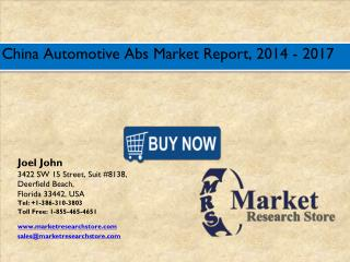 China Automotive Abs Market 2016: Size, Share, Trends, Growth Analysis Forecast