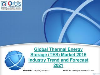 2016 Global Thermal Energy Storage (TES) Market Trends Survey & Opportunities Report