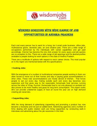 Widened Horizons with Wide Range of Job Opportunities in Andhra Pradesh