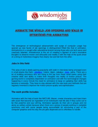 Animate the World: Job openings and Walk-in Interviews for Animators