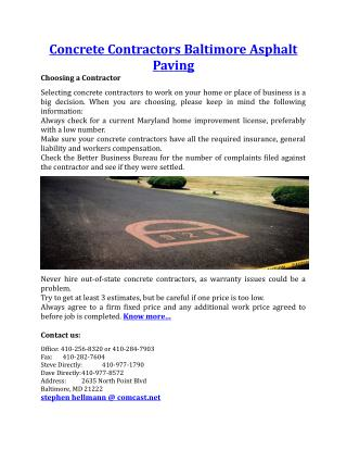 Concrete Contractors Baltimore Asphalt Paving