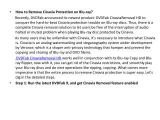 How to Remove Cinavia Protection on Blu-ray