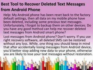 Best Tool to Recover Deleted Text Messages from Android Phone