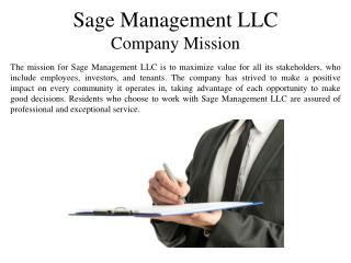 Sage Management LLC Company Mission