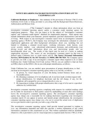 Notice Regarding Background Investigation Pursuant to California Law