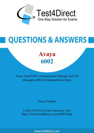 Avaya 6002 Test - Updated Demo