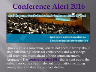 Conference alert 2016