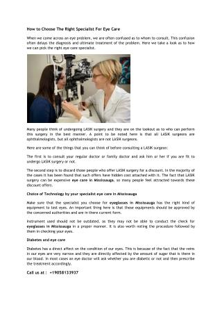 How to Choose The Right Specialist For Eye Care