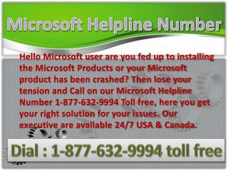 Microsoft Helpline Number &%&%& 1-877-632-9994 toll free