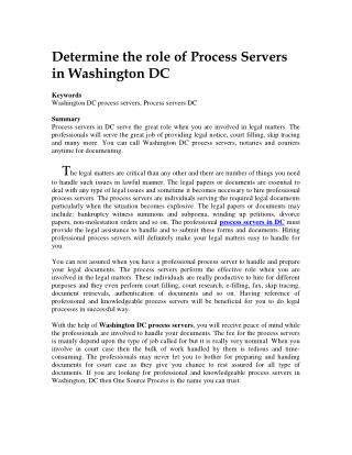 Determine the role of Process Servers in Washington DC