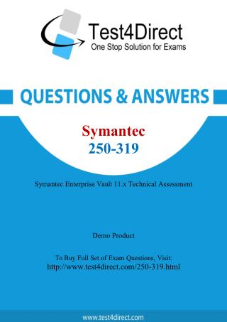 Symantec 250-319 Enterprise Vault Exam Questions