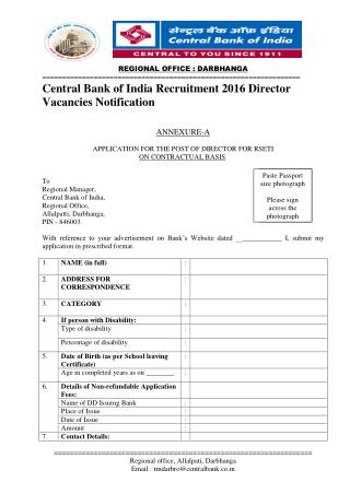 Central Bank of India Recruitment 2016 Director Vacancies Notification