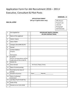Application Form for AAI Recruitment 2016 � 203 Jr Executive, Consultant & Pilot Posts