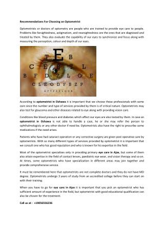 Recommendations For Choosing an Optometrist