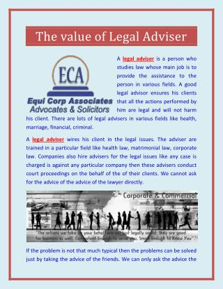 The value of Legal Adviser