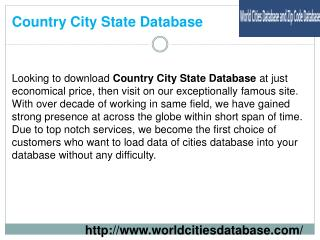 Country City State Database