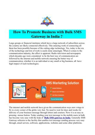 Bulk SMS Gateway Provider in India