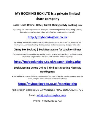 Book Ticket Online: Hotel, Travel, Dining at My Booking Box