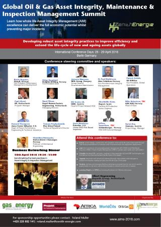 The Global Asset Integrity Management O&G and Energy Forum, 28th-29th April 2016 BERLIN GERMANY