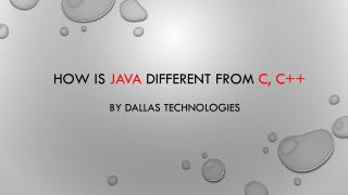 Java different from C, c   by Dallas Technologies