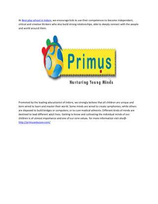 Primus Best play school in indore