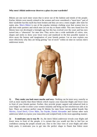Why men's bikini underwear deserves a place in your wardrobe?