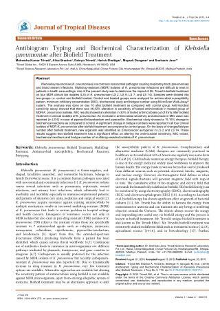 Klebsiella Pneumoniae Antibiogram Typing