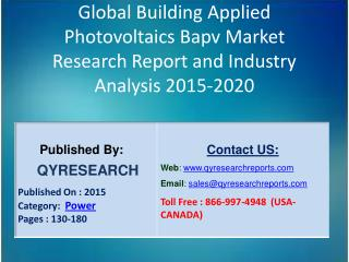 Global Building Applied Photovoltaics Bapv Market 2015 Industry Analysis, Research, Growth, Trends and Overview