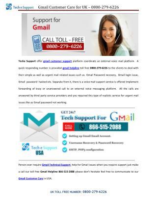 Gmail Customer Care - 0800-279-6226