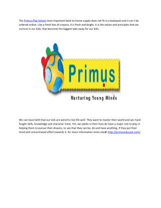 The Primus Play School in indore