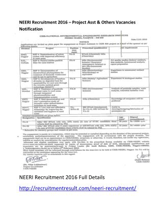 NEERI Recruitment 2016 – Project Asst & Others Vacancies Notification