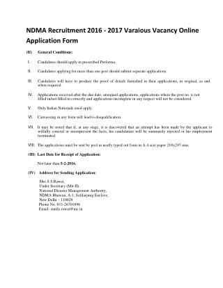 NDMA Recruitment 2016 - 2017 Varaious Vacancy Online Application Form