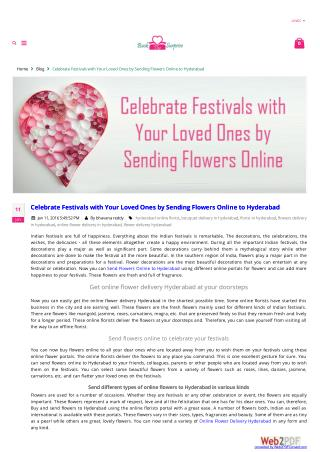 Celebrate Festivals with Your Loved Ones by Sending Flowers Online to Hyderabad