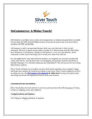 OsCommerce- A Midas Touch!