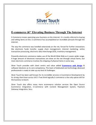 E-commerce – Elevating Business Through The Internet