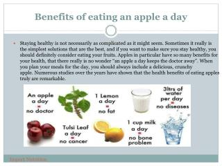 Benefits of eating an apple a day >> Import Nutrition