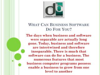 What Can Business Software Do For You?
