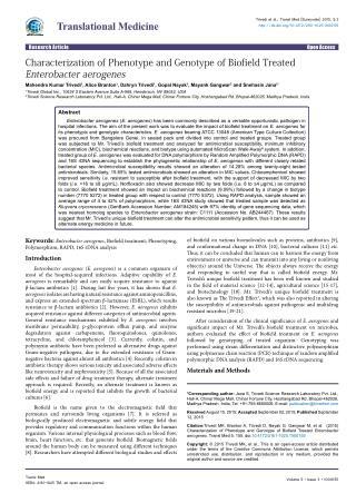 Characterization of Phenotype and Genotype of Biofield Treated Enterobacter aerogenes