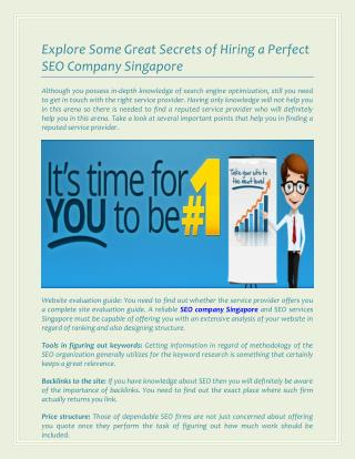 Explore Some Great Secrets of Hiring a Perfect SEO Company Singapore