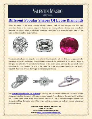 Different Popular Shapes Of Loose Diamonds
