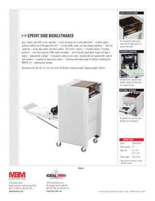MBM Sprint 5000 Booklet Maker at US$ 7,375.00 - Printfinish.com