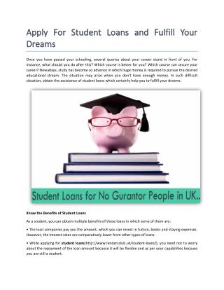 Get Guaranteed Student Loans in UK
