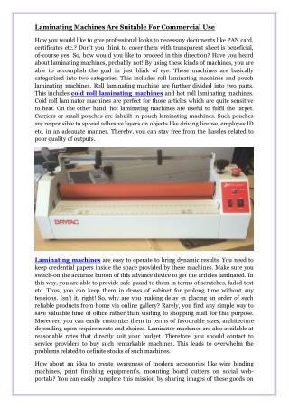 Laminating Machines Are Suitable For Commercial Use