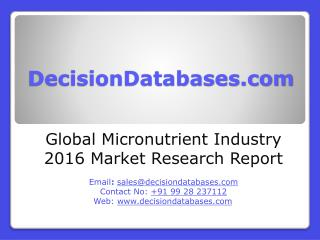 Global Micronutrient Market 2016:Industry Trends and Analysis