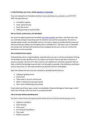 C Vella Plumbing Pty Ltd