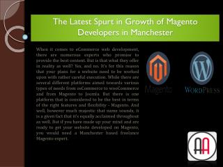 The Latest Spurt in Growth of Magento Developers in Manchester