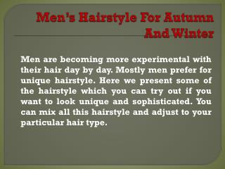 Men's Hairstyle for Autumn and Winter